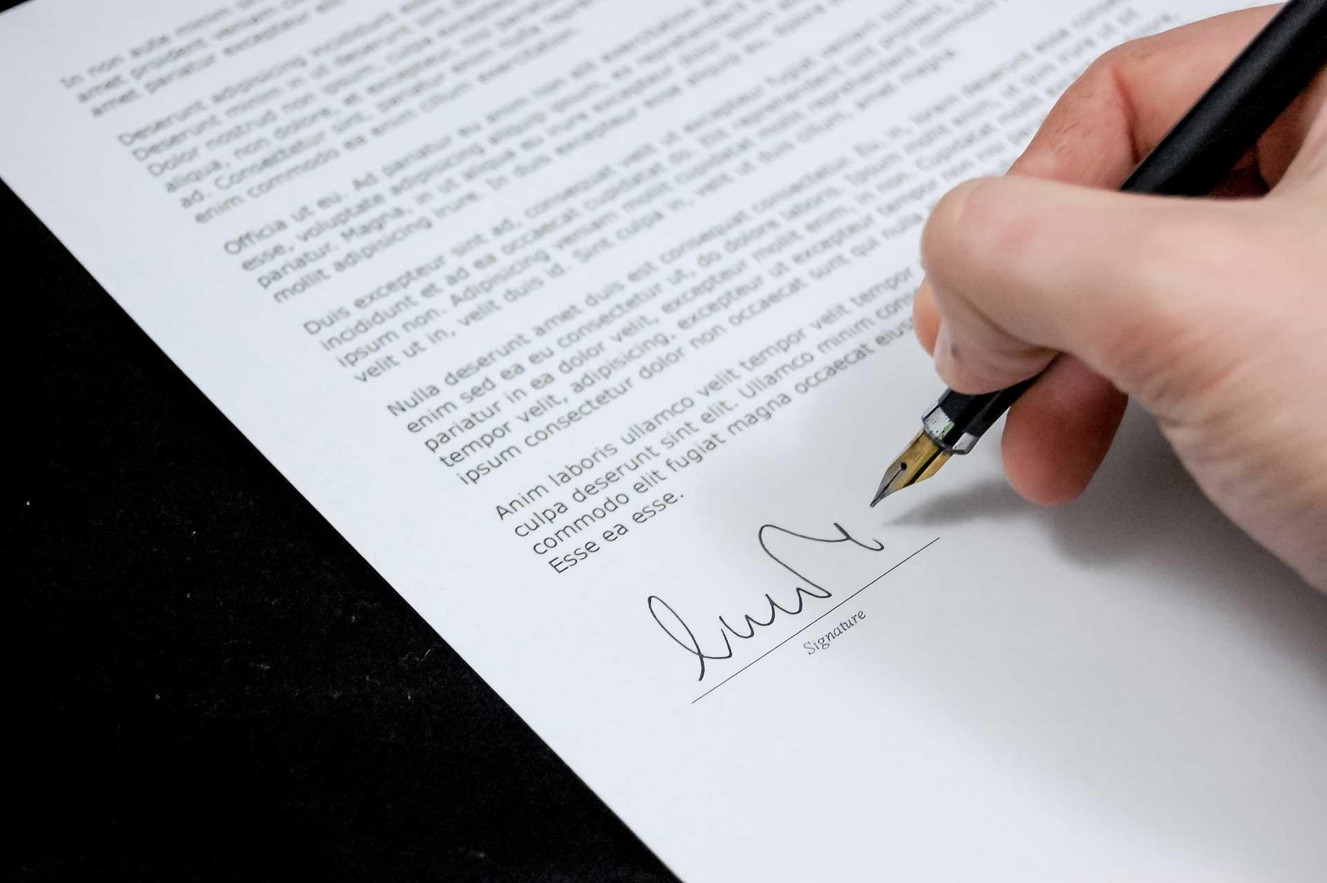 Signature d'un document